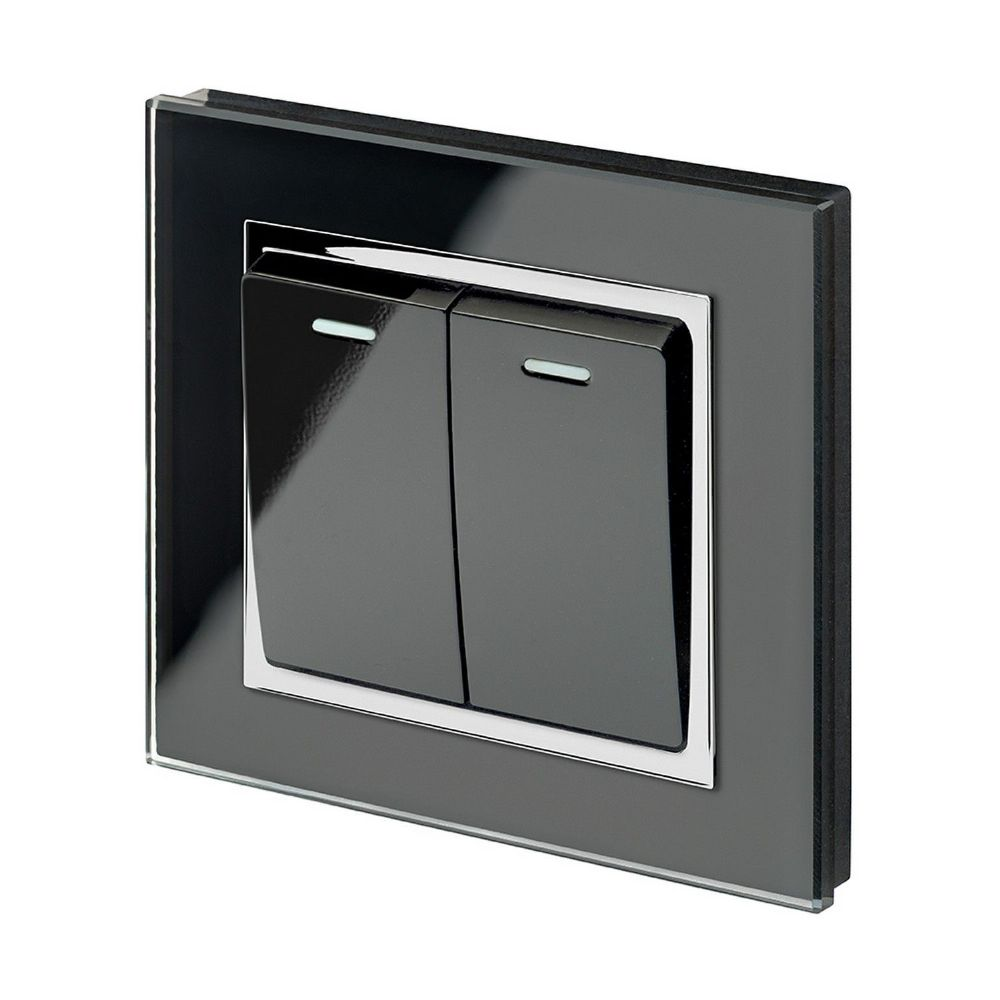 RetroTouch 2 Gang 1 or 2 Way 10A Rocker Light Switch Black Glass CT 00221